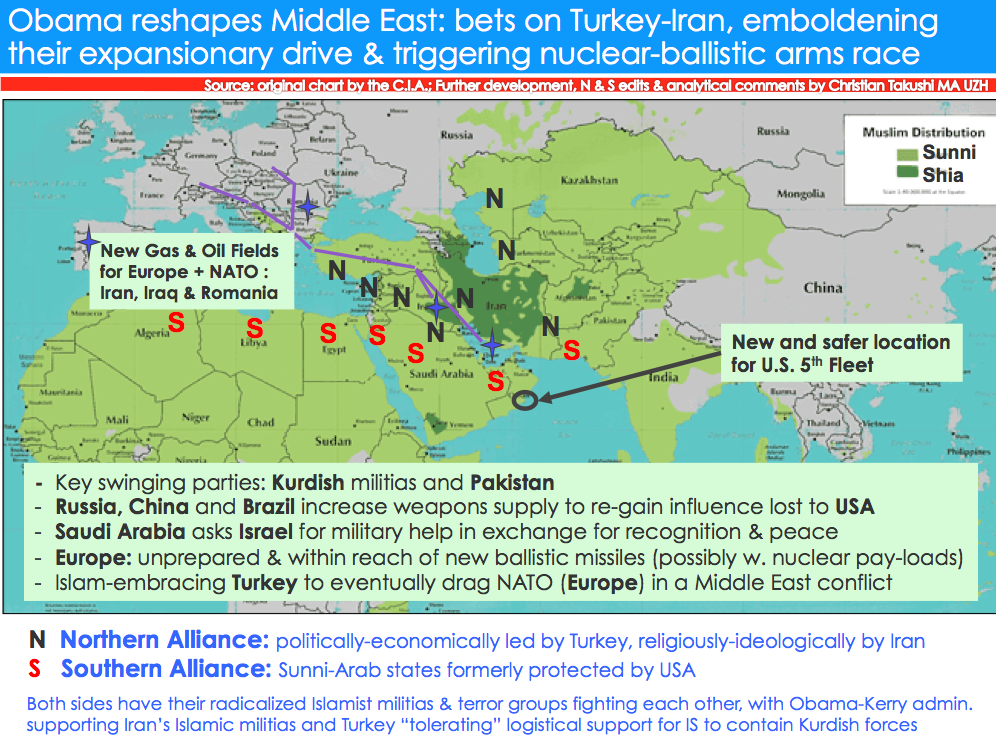 Source: original chart by the C.I.A.; Further development, N/S edits & analytical comments by Christian Takushi MA UZH. Obama-pushed Northern Alliance with core members: Turkey-Syria-Iraq-Iran at risk if Trump wins US elections.